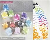 Flower Treat Boxes Printable 12 colors: Yellow, Orange, Red, Pink, Fushia, Purple, Blue, Aqua, Turquoise (Teal), Green, Black - INSTANT