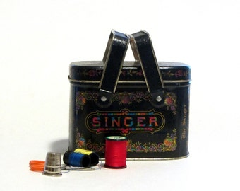 Singer Manufacturing Sewing Tin With Handles Bristol Ware Collectible Tin Buttons Pins Needles Storage