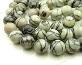 10mm Black Silk Stone Natural Gemstone Beads - 19pcs - Round, Black and Gray Beads - BB24