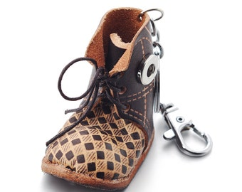 1 Brown Leather Boot Keychain - FITS 12MM Candy Snap Charm Jewelry Silver Limited Edition CJ0407
