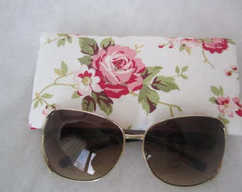 Sunglass / eyeglass case lined and padded in beautiful rose print on white RTS