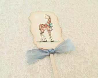 Giraffe Cupcake Picks Toppers-Zoo Animal Shower Favors Decorations-Gender Neutral Baby Shower-set of 12