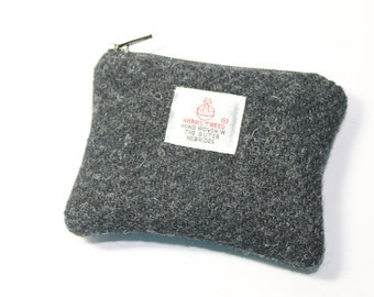 Coin purse, change purse, Harris Tweed, charcoal grey