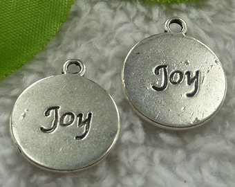 1 Joy Charm Round Antique Silver 21 x 18 mm Double Sided Word Charm U.S Seller - sc028