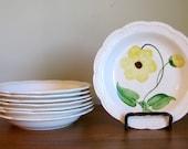 Vintage Stetson Heritage Ware Soup/Pasta Bowls Yellow Hand Painted Scalloped Edge BONUS Plate
