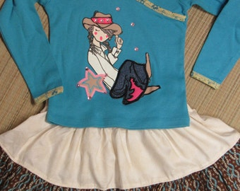 Cowgirl/Western Twirly Skirt Set w/ Shirt-Size 2-Turquoise/Brown/Stars/Sparkles-Too Cute!