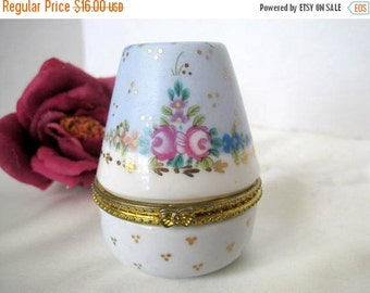 Jewelry Box  - Porcelain Egg Shaped  -  Vanity Box - Painted Porcelain