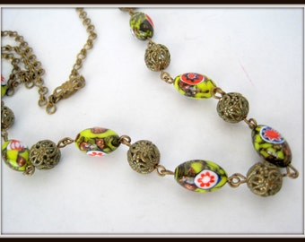 Millefiori Bed  Necklace - Glass Beads - 26 Inch Bead - Gold Chain