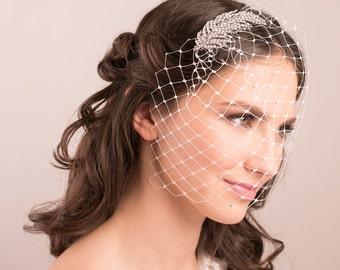 Bridal Rhinestone Birdcage Veil, wedding rhinestone veil