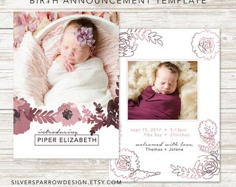 Birth Announcement Template for Photographers - Watercolor Floral
