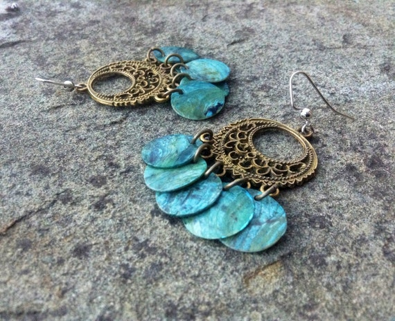 "Light Blue ""Simply Chandelier"" Mussel Shell Earrings"