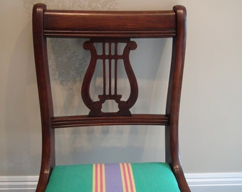 Vintage Music Chair-Refinished and Upholstered in BOLD Stripes with Musical Symbol...Like New, Quality