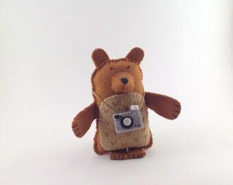 Ansel the Photographer - Brown Bear - felt handmade original decoration