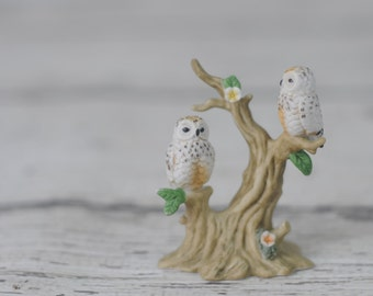 Porcelain Owls Woodland Owls Perched On Branch Marked E-7113