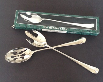 """Wm. Rogers & Son Salad Serving Fork and Spoon Silver Plate 12.5"""" Silverplate"""