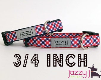 Patriotic Plaid Red and Royal Blue Dog Collar