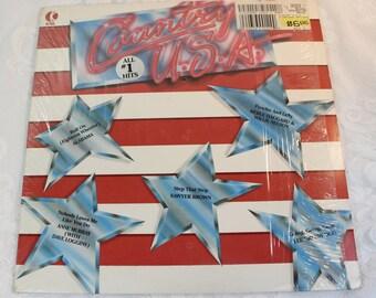 Country U.S.A.- 33 rpm Vintage vinyl record LP - 1986- Alabama, Sawyer Brown, Lee Greenwood, Merle Haggard, Willie Nelson, Anne Murray