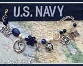 US Navy Mom prayer beads charm bracelet by Son and Sea free US shipping