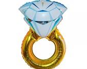 Diamond Balloons - VERY HUGE Balloon Large Diamond with Gold Ring Balloon Wedding Balloons Ballon ( Wedding Decor & Party Balloon Supplies )