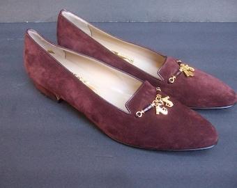 FERRAGAMO Luxurious Brown Suede Shoe Charm Flats 9.5 AAAA