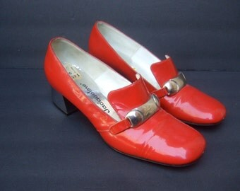 Mod Red Patent Vinyl Chrome Buckle Pumps c 1970