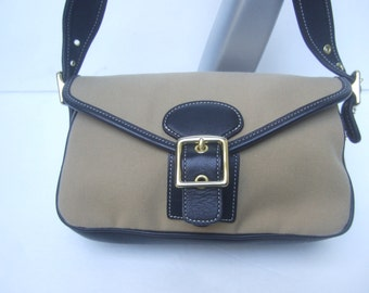 Charming Coach Small Tan Canvas & Black Leather Trim Handbag (Genuine)