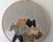 Painted cats hoop art. Cat lover gift - textile art