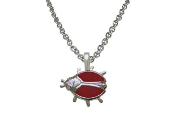 Red Bug Insect Pendant Necklace