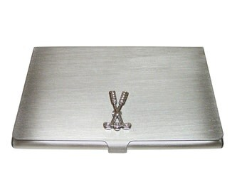 Crossed Golf Clubs Business Card Holder