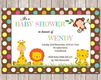 Jungle Animal Safari Personalised Baby Shower Invitation - YOU PRINT