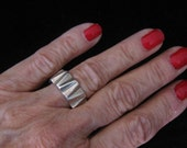 """RESERVED for Paul Sale Sterling Silver INDUSTRIAL Machine Age MODERNIST 3/8"""" Wide Vintage Ring from Taxco, Mexico.   Size 7.  10.2 grams"""
