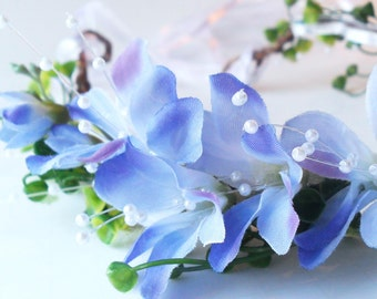 Woodland Wedding Flower Crown, Rustic Blue Flower Circlet with pearls and greenery