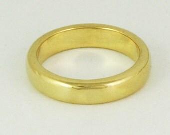 4.5mm x 2mm Half Round Wedding Ring - 14k / 18k / 22k / 24k - Solid Gold - Unisex Wedding Band