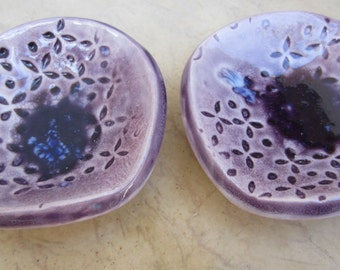 Two Deep Purple Ceramic Ring Holders, Tea Light Holders, Candy Dish, Small Bowls
