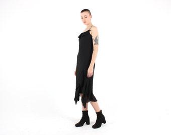 90s Marques Almedia Style Ruffle Asymmetric Hem Spaghetti Strap Midi Slip Dress