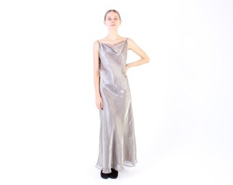 90s LIQUID Metallic Silver FUTURISTIC Designer Like Iridescent / Minimal Cami / Slip / Spaghetti Strap Maxi Party Dress