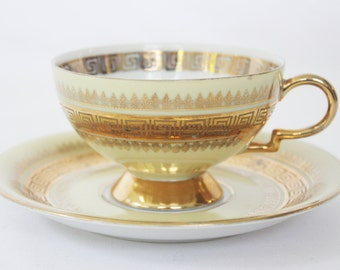 Vintage Greek Key Cup and Saucer 8427 by RW Rudolf Wachter Bavaria