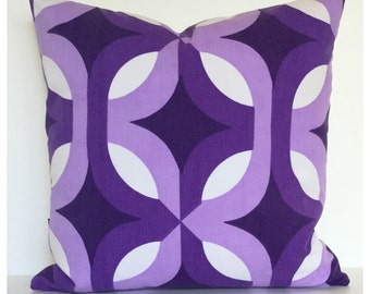 "Vintage Retro 70s Psychedelic Purple Cushion Cover 16"" x 16"""
