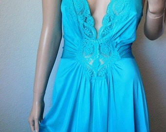 ON SALE Vintage Turquoise Lace Top Long Nightgown - by Olga - 92280 - Large