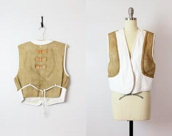vintage leather vest / 1970s white leather vest / artisan leather burlap vest / avant garde layering vest / sisal jute fiber art vest