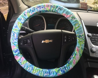 Steering Wheel Cover made with Lilly Pulitzer's Blue Heaven fabric