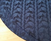 Reversible Navy Jacquard Elegant Tree Skirt, Free Shipping, Made in USA