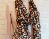 Leopard Sheer Scarf, Black Cream Brown Chiffon Cheetah Rectangle Scarf, Accessory, Affordable, FREE Shipping, Made in USA