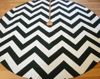 Oversize Chevron Black and White Christmas Tree Skirt - Crisp Black and White ZigZag Stripe