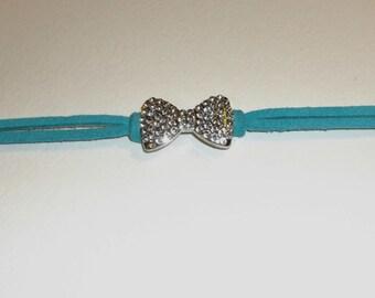 shiny bow suede bracelet, pick your color