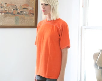 Vintage 70s Soffe Blank T- Shirt Orange with Stitching