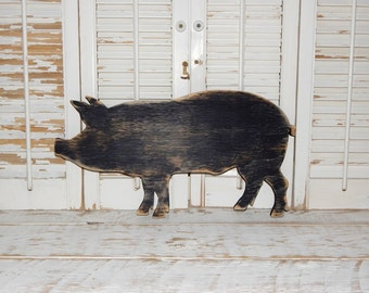 Pig Sign Wall Decor Farmhouse Country Decor Wooden Pig Kitchen Decor