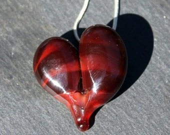 Glass Heart Necklace, Blown Boro Pendant, Lampwork Focal BeadTwists of Red Heart
