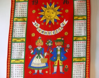 German Vintage Folk Art Tea Towel Calendar from 1976  - for instant rustic Home Decor or Great Vintage Birthday Present idea
