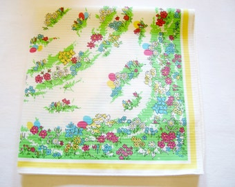 Lovely German Vintage Easter Spring Printed Tablecloth with Eggs and Flowers made in the DDR/Tablelinen topper